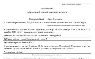 Уведомление об изменении условий трудового договора: форма и образец