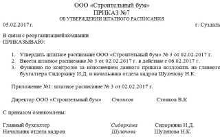 Форма приказа об утверждении штатного расписания: образец