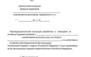 Должностная инструкция и обязанности дворника (уборщика территории)